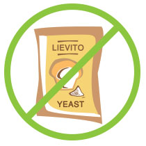 Recipe yeast free: without Brewer's yeast, baking powder, sourdough starter