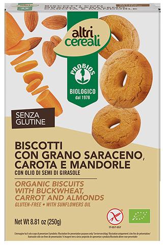 BISCOTTI AL GRANO SARACENO, CAROTA E MANDORLE - senza glutine